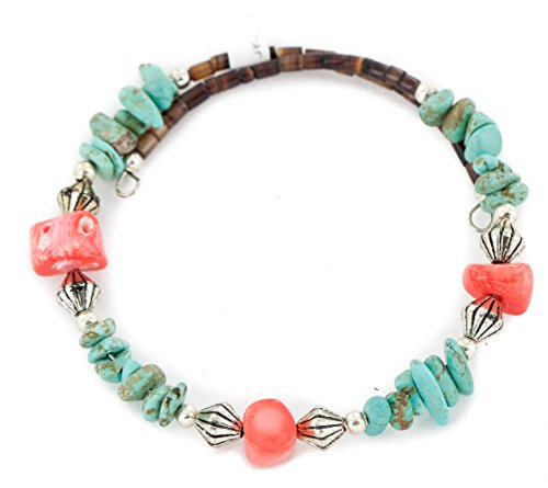Certified Authentic Navajo Natural Turquoise Coral Heishi Adjustable Wrap Native American Bracelet