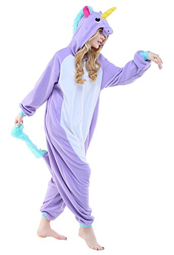 Pegasus Horse Costume (Unisex Adult Purple Pegasus Flying Horse Masquerade Cosplay Costume Animal Pajamas Jumpsuit,S)
