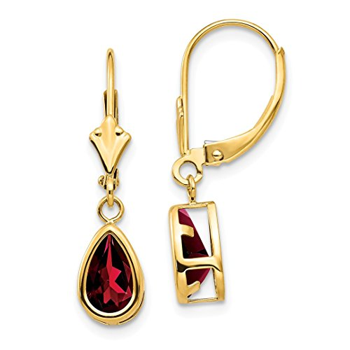 14k Yellow Gold 8x5mm Pear Red Garnet Leverback Earrings Lever Back Drop Dangle Gemstone Bezel Fine Jewelry For Women Gift Set