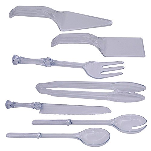 (Set of 7 Black Duck Brand Disposable Plastic Serving Utensil Set! Tong, Fork, Knife, Salad Spoons, Cake Servers! Disposable or Reusable Plastic Serving Set for any Event! (7))