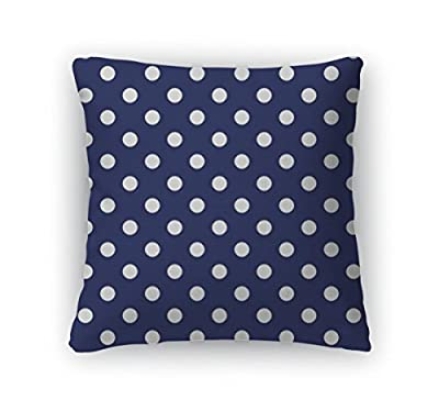 Gear New Zippered Pattern with Polka Dots on Retro Navy Blue Square Pillow