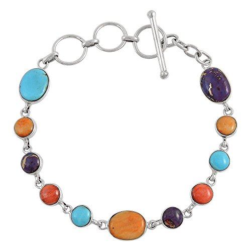 (Turquoise Link Bracelet Sterling Silver 925 Genuine Turquoise & Gemstones (Multi))