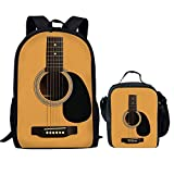 Showudesigns Kids Set Schoolbag Bookbag Travel Backpack + Lunch Box Cool Guitar Printing