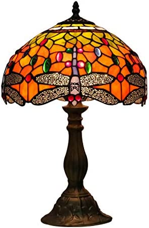 Tiffany Lamps Yellow Stained Glass and Crystal Bead Dragonfly Style Table Lamp 12 Inches Wide 18 Inches Tall