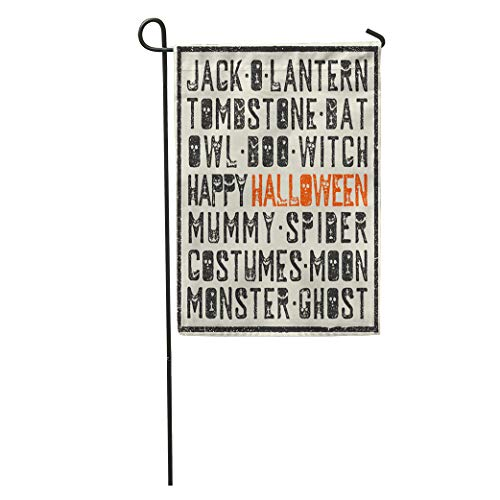 Semtomn Garden Flag Boo Halloween Words Stamp Letters Scary Bats Tombs Pumpkins Holiday Home Yard House Decor Barnner Outdoor Stand 28x40 Inches -
