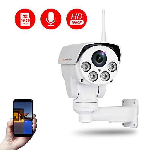 Wireless WiFi PTZ Security Camera, Jennov HD 1080P Wireless WiFi IP Security Cameras Home Surveillance Outdoor Waterproof Pan Tilt Zoom PTZ Camera with Audio Built-in 16G Micro SD Card Night Vision