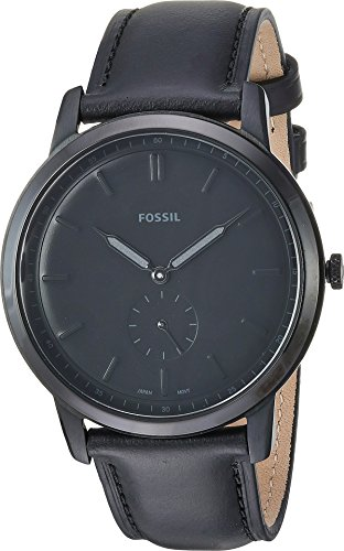 Fossil Men's 'The Minimalist-Mono' Quartz Stainless Steel and Leather Casual Watch, Color:Black (Model: FS5447)