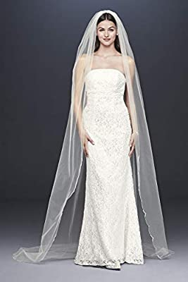 Pearl Crystal Cluster Scallop-Edge Cathedral Veil Style V801L