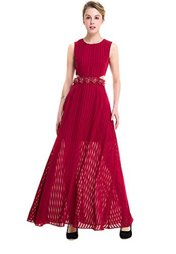 Ababalaya Frauen Elegantes Schlank Rundhals Blumendruck Streifen Hoch Taille Ärmellos Runway Abendkleid