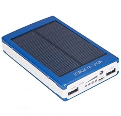 Dual USB Portable Solar Battery Charger 30000mAh Power Bank For Cell Phone Blue