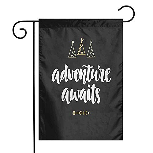 (Mannwarehouse Quote Garden Flag Adventure Awaits Modern Calligraphy with Doodle Tents and an Arrow Decorative Flags for Garden Yard Lawn W12 x L18 Black White and Pale Orange)
