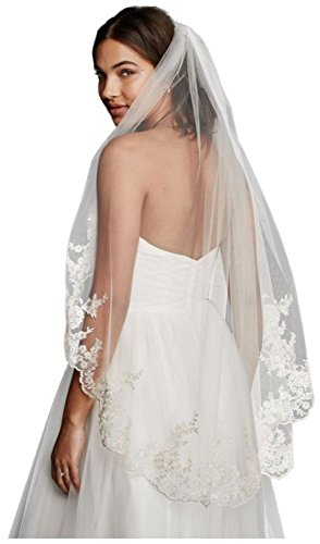 Mid Veil with Scalloped Edges and Lace Style V682, Champagne from David's Bridal