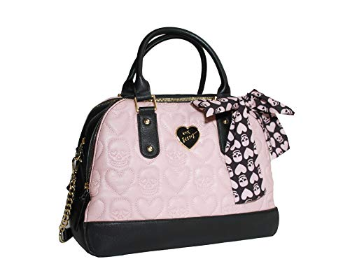 Betsey Johnson Quilted Skull & Heart Black/Blush Triple Entry Satchel Detachable Skull Scarf Detail Shoulder ()