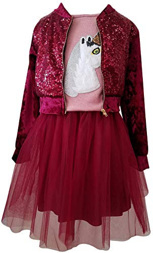 Tank Top Sequin Jacket Tulle Skirt Flower Girl Skirt Sets for Big Girl Burgundy 14 JKS 2151