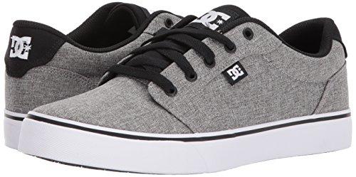 DC Men's Anvil TX SE Skate Shoe, Black/Grey/White, 13 D D US