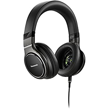 Panasonic Premium Hi-Res Stereo Over-the-Ear Headphones with Mic + Controller RP-HD10C-K (Black), with Travel Case