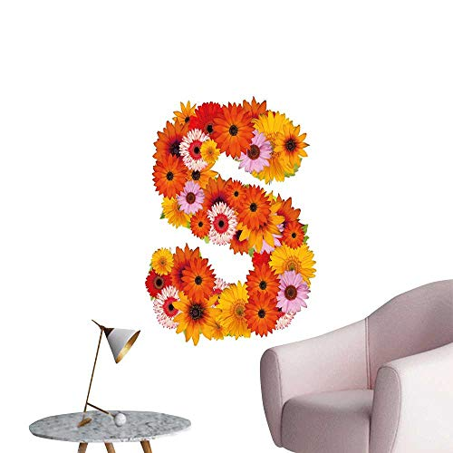 Letter S Wall Art Canvas Prints Organic Color Palette Gerbera Bouquet Natural Looking Petals Letter S Alphabet Bedroom Wall Multicolor W8 x H10 - Coco Stick Natural Frame