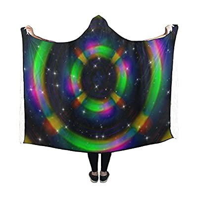 Jnseff Hooded Blanket Rays Futuristic Star Space Technology Blanket 60x50 Inch Comfotable Hooded Throw Wrap