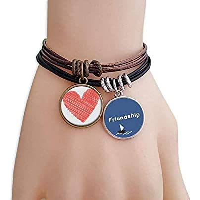 Heart Graffiti Line Valentine s Day Friendship Bracelet Leather Rope Wristband Couple Set Estimated Price -