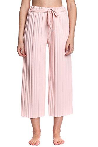Abbino 8142 7/8 Pantalones para Mujeres - Hecho en ITALIA - 5 Colores - Entretiempo Primavera Verano Otoño Largos Sport Deporte Casual Chico Fashion Elegantes Rebajas Viscosa Dama - Talla única Rosa