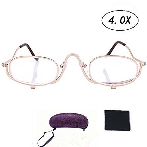 - Makeup 4.0x Magnifying Make-up Eye Alloy Glasses Spectacles Flip Down Lens (4.0)