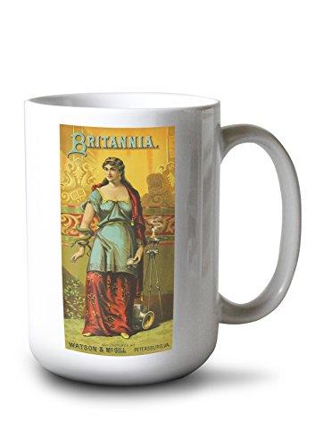 Lantern Press Petersburg, Virginia - Britannia Brand Tobacco Label (15oz White Ceramic Mug)