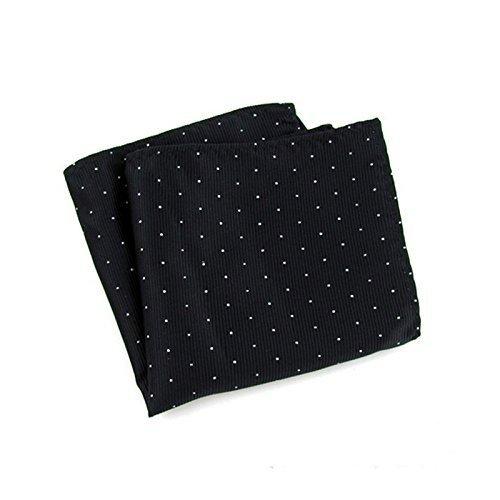 BONYTAIN Pocket Square for Men Dot Black Hankerchief Korean Silk Paisley Dot Floral Hanky Wedding Marriage Pocket Square