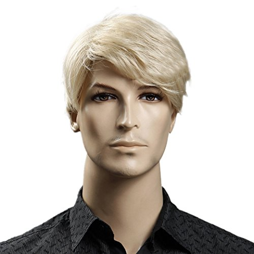 Tangda Herren Perücken Man Wigs Synthetische Perücken Glatt Perücken Haarnetz Kurz Perücken Blond