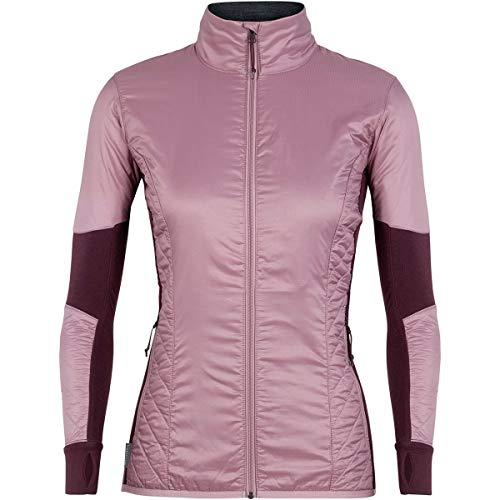 Icebreaker Merino Women's Helix Long Sleeve Zip Down Alternative Outerwear Coats, Medium, Opal/Velvet/Jet Heather