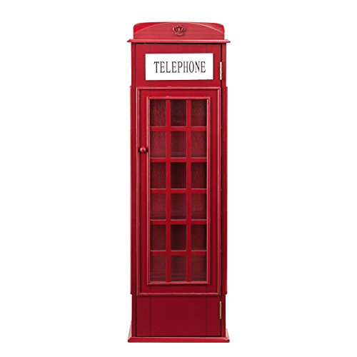 Southern Enterprises AMZ1367ZH Phone Booth Storage Cabinet, Red (Southern Sideboard Enterprises)