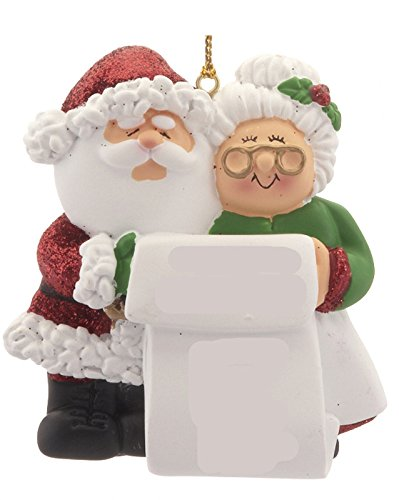 Mr. & Mrs. Claus List Christmas Ornament -  OTS