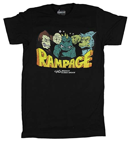 (Rampage Shirt Midway Classic Arcade Games Graphic T-Shirt (3X-Large) Black)