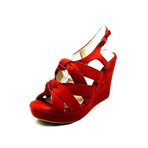 Knot sendit4me Suedette Coral Sandals Corail Front Wedge Shoes Heel qv4Iq
