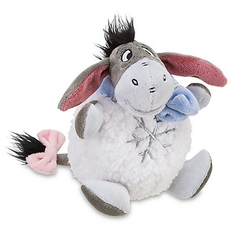 "Retired Disney Winnie the Pooh Unique Styled Winter Wonderland Snowflake Snowball 6"" Eeyore Doll"