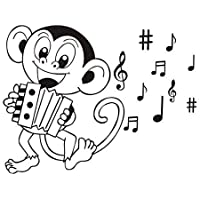 Wall Sticker PVC Silhouette Cartoon Animal Monkey Play Accordion for Kids Room Musical DIY Decal Mural Art Home Bedroom Decoration