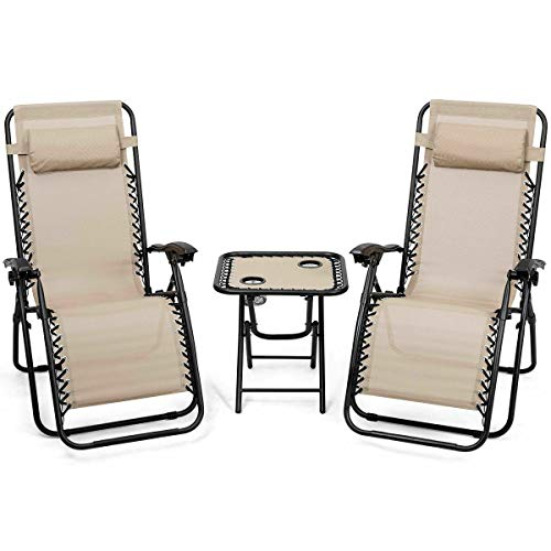 - Heize best price Beige Folding 3PC Zero Gravity Reclining Lounge Chairs Table Pillows Portable Backyard Patio Furniture Indoor Dinner(U.S. Stock)