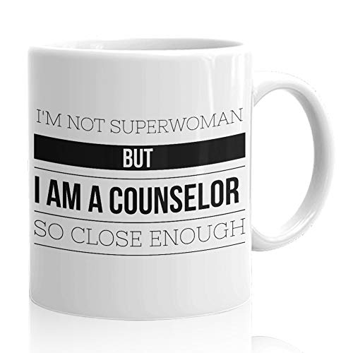 Counselor Coffee Mug - Funny Gifts for Guidance Counselors Mental Therapist - Freud Freudian Psychology Mugs - School Psychologist Psychiatrist Cup - I'm Not Superwoman but a Counselor]()