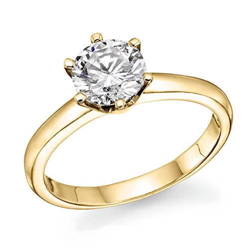 14K Yellow Gold Round Brilliant Cut Diamond Engagement Ring (1/2 cttw, L-M Color, I1-I2 Clarity) - Size (1/2 Carat Brilliant Cut Diamond)