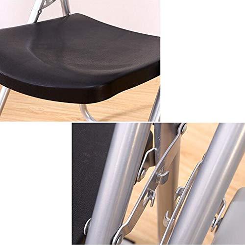DALL hopfällbar stol plast dator bordsstol kontor personalstol metallram konferensstol hem matstol (färg: Svart, storlek: 1 del)