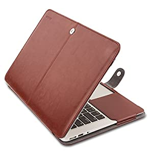 MOSISO PU Leather Case Only Compatible MacBook Air 11 Inch A1370 / A1465, Premium Quality Book Folio Protective Stand Cover Sleeve, Brown