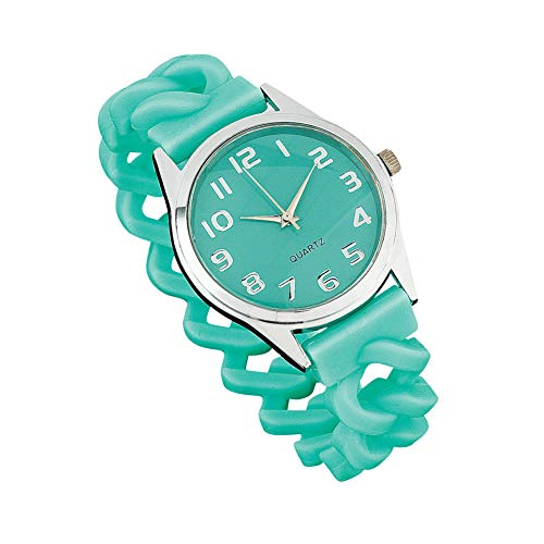 Women's Stylish Easy-to-Read Silicone Wrist Watch with Braided Stretch Band for Maximum Comfort, Teal, One Size Fits All]()