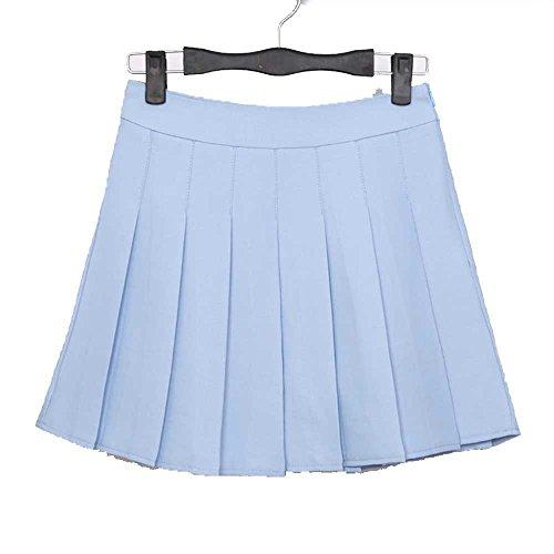 YoungG-3D New Spring High Waist Ball Pleated Skirts Harajuku Denim Skirts Solid A-Line Sailor Skirt Sky Blue Youbian M -