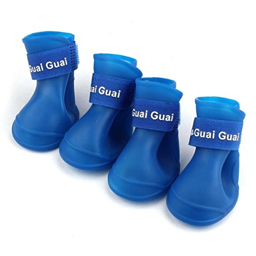Sumen 2017 New Dog Candy Colors Boots Waterproof Rubber Pet Rain Shoes (L, Blue)]()