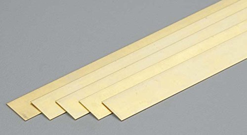 K&S Precision Metals 9712 Brass Strip, 0.016'' Thickness x 1/2'' Width x 36'' Length, 5 pc, Made in USA by K & S