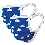 Facetex-2er-Pack-Mundschutz-Kinder-Junge-Mdchen-waschbar-blau-mit-Wlkchen-aus-100-Baumwolle-Oeko-TEX-100-Standard-Earloop-Design-Wiederverwendbare-Behelfs-Maske-Mund-und-Nasenschutz-Ab-6