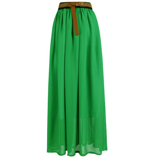Tobey Vintage Women's Pleated Long Chiffon Waist Maxi Boho Beach Skirt Dress (Fruit Green)��necklace included, one size