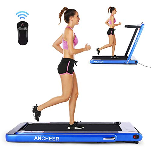 ANCHEER Folding Treadmill, Under Desk Smart Electric Treadmill with Remote Control and Bluetooth Speaker LCD Monitor, 2 in 1 Walking Running Machine Trainer Equipment for Home Gym