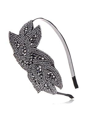Alilang Womens Black Gunmetal Grey Beaded Floral Leaf Flapper Headband - Vintage 1920s Great Gatsby Style Fashion (Black)