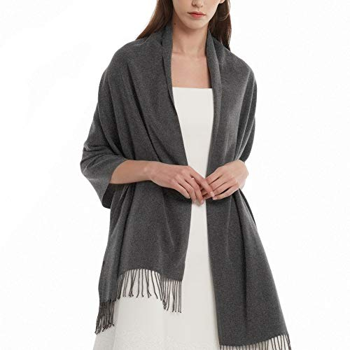 (Women's Large Scarf Shawl Wrap- FURTALK Wedding Evening Dress Blanket Scarves In Solid Color Cashmere Feel Bridal Gift (Deep Grey))