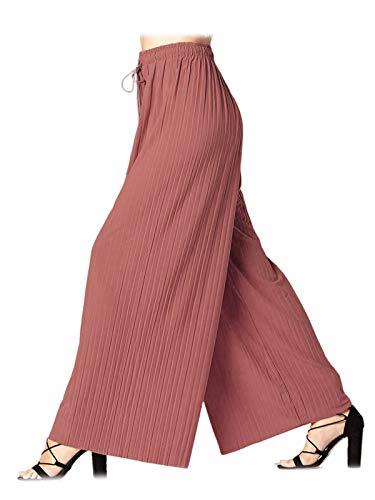 (Design by Olivia Women's Elastic Waist Chiffon Loose Pleated Wide Leg Palazzo Overlay Pants/Capri/Skirt Mauve ONE)